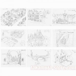 Wanwan Sanjushi Backgrounds model sheets
