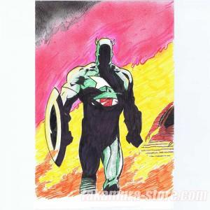 Kazuo Tomizawa's original color drawing of Captain America