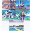 lot de 5 cartes postales + autocollants